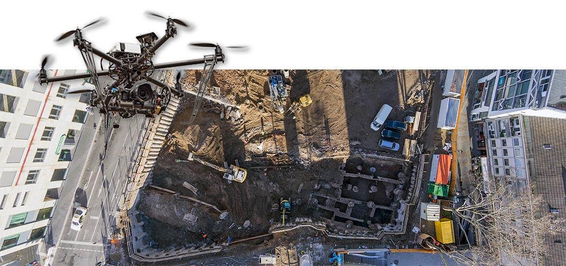 Baustelle und archäologische Grabung in Köln