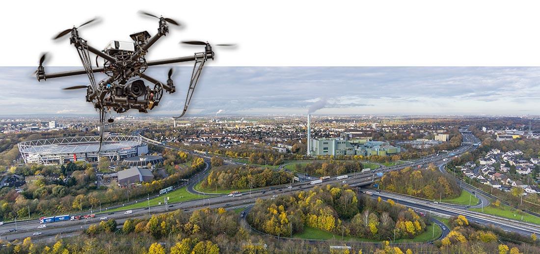 Luftaufnahme Autobahnkreuz Leverkusen für Bauplanung