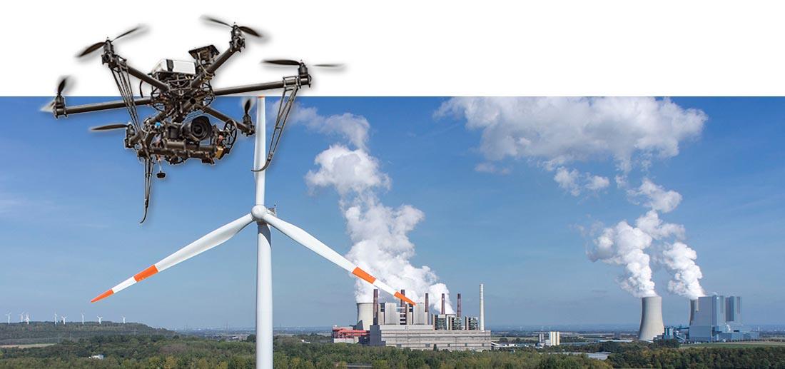 Windkraft und Braunkohle Energie