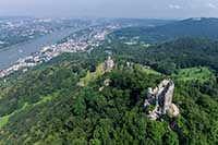 Luftbild von Siebengebirge, Drachenfels, Rhein
