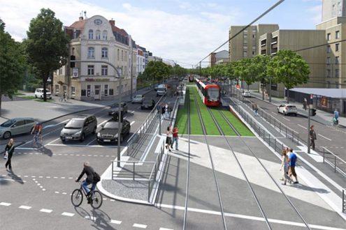 Architektur-Visualisierung für Planung der Straßenbahn