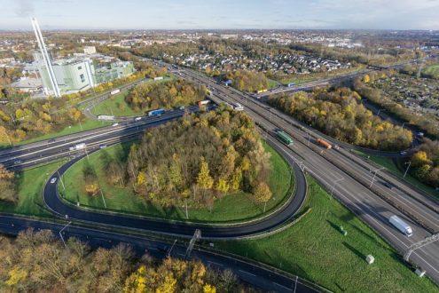 Luftbild von Autobahnkreuz Leverkusen für Bauplanung
