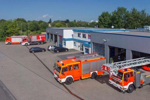 Luftaufnahme von Feuerwehr in Köln