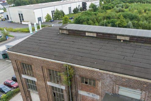 Luftbild von Sturmschaden an Dach für Gutachten