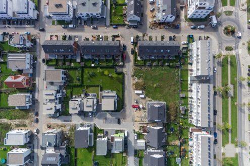 Luftbild von Wohngebiet, Neubausiedlung in Köln