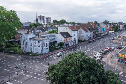 Straßenplanung Bonner Straße in Köln. Luftbild für Visualisierung
