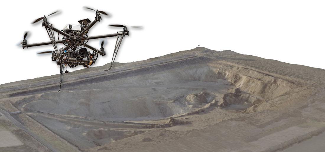 Vermessung von Kiesgrube mit Luftaufnahmen und Photogrammetrie