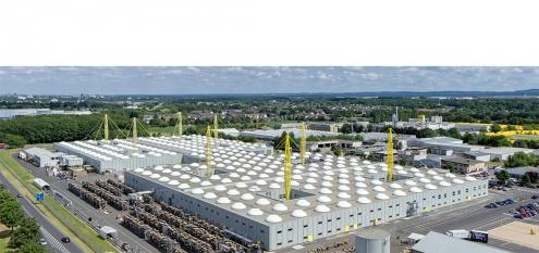 Firmenzentrale von igus, Architekt Nicholas Grimshaw. Moderne Fabrik und Architektur in Köln