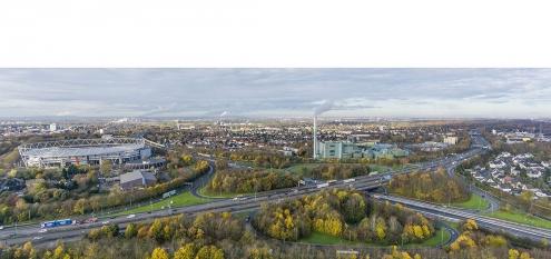 Luftaufnahme Autobahnkreuz Leverkusen für Bauplanung von Landesbetrieb Straßenbau NRW