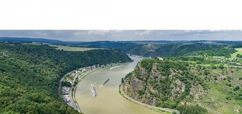 Panorama von Rhein und Loreley. Mittleres Rheintal und Loreley, UNESCO Welterbe in Rheinland-Pfalz