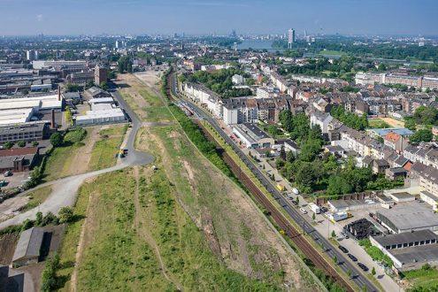 Bauprojekt in Köln-Mülheim, Foto mit Blick auf Köln für Visualisierung
