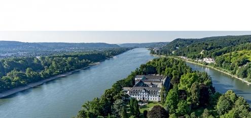 Die Rheininsel Nonnenwerth bei Rolandswerth, Kloster und Franziskus-Gymnasium