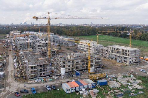 Luftbild-Wohnungsbau-Neubau-Immobilien-Baustelle