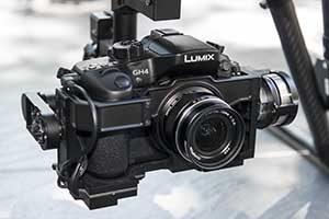 Video Kamera und Gimbal an einer professionellen Drohne