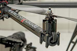 Carbon Propeller einer professionellen Drohne für Luftbilder