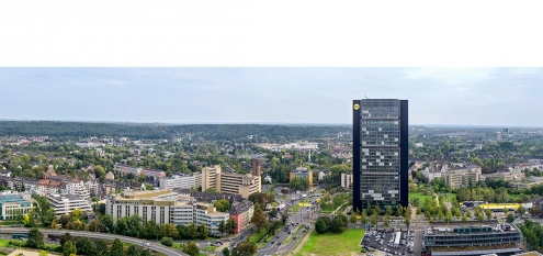Planung für die Visualisierung eines Bauprojekts in Düsseldorf, NRW, am Mörsenbroicher Ei
