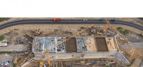 Baustelle einer Grünbrücke, Dokumentation von Baufortschritt