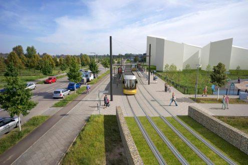 Berlin Adlershof Lftaufnahme für Architektur von Straßenbahnhaltestelle