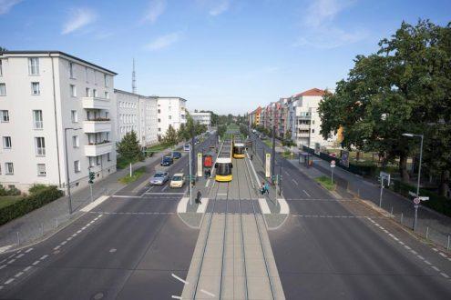Architektur-Visualisierung für Stadtplanung von Straßenbahn in Berlin