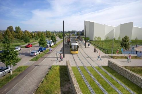 Visualisierung für Stadtplanung der Straßenbahn in Berlin